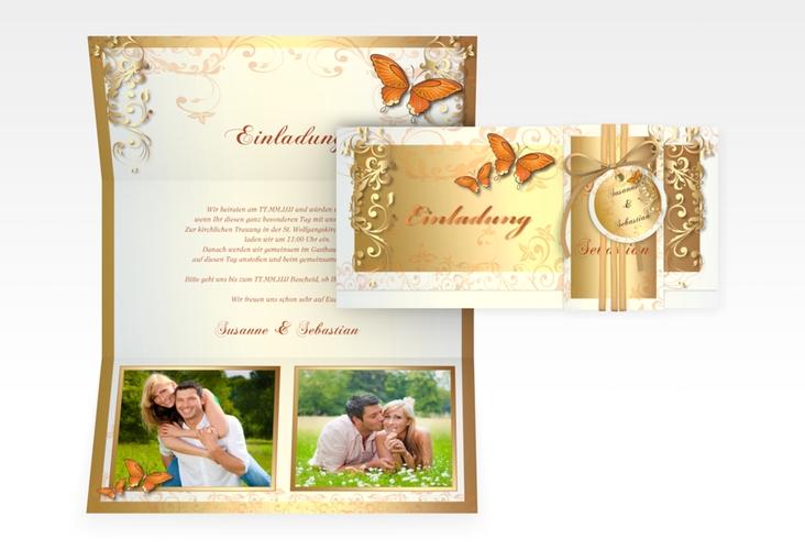 """Hochzeitseinladung """"Toulouse"""" DIN lang Wickelfalz orange"""