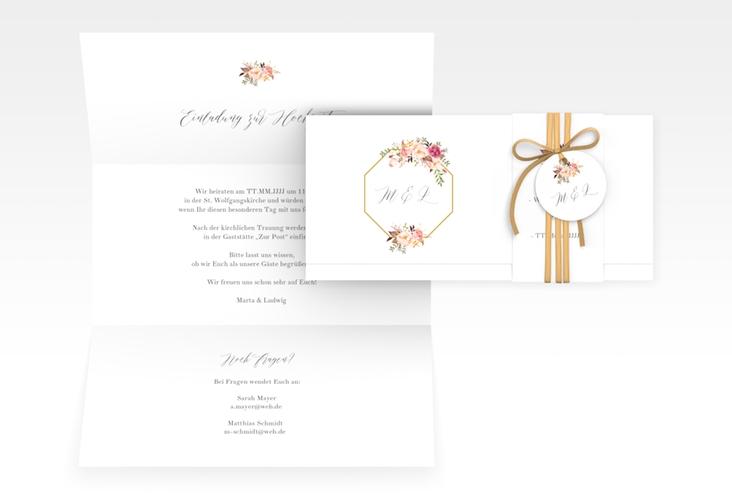 """Hochzeitseinladung """"Prachtvoll"""" DIN lang Wickelfalz weiss"""
