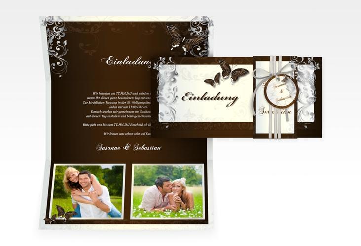 """Hochzeitseinladung """"Toulouse"""" DIN lang Wickelfalz braun"""