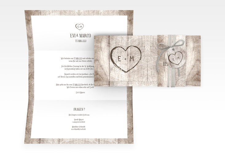 "Hochzeitseinladung ""Wood"" DIN lang Wickelfalz weiss"