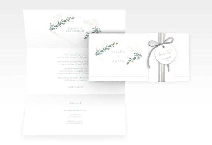 """Hochzeitseinladung """"Verde"""" DIN lang Wickelfalz"""