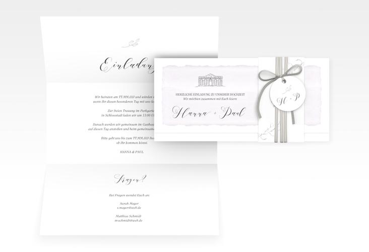 """Hochzeitseinladung """"Villa"""" DIN lang Wickelfalz"""