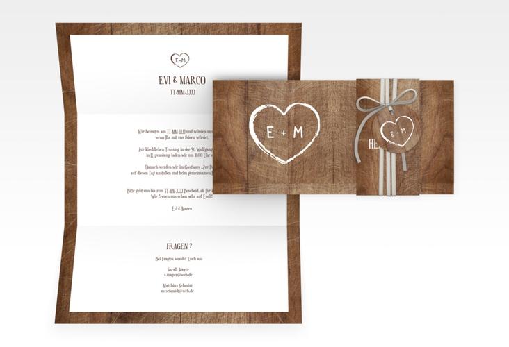 "Hochzeitseinladung ""Wood"" DIN lang Wickelfalz"