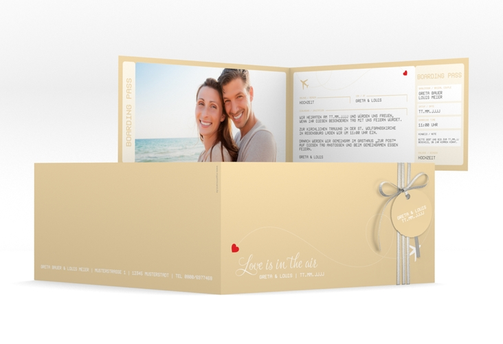 "Hochzeitseinladung ""Weddingpass"" DIN lang Klappkarte beige"