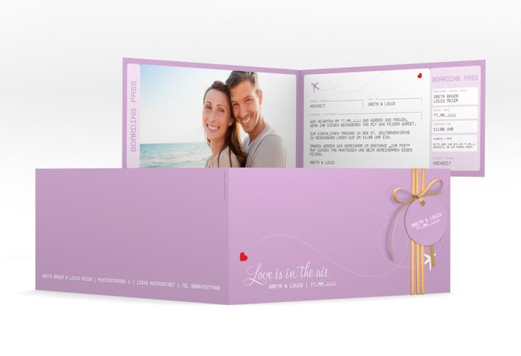 """Hochzeitseinladung """"Weddingpass"""" DIN lang Klappkarte flieder"""