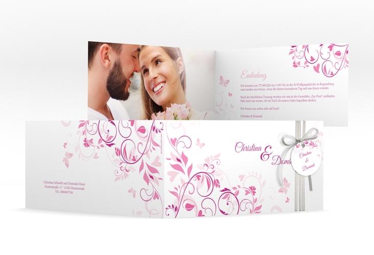 """Hochzeitseinladung """"Lilly"""" DIN lang Klappkarte pink"""