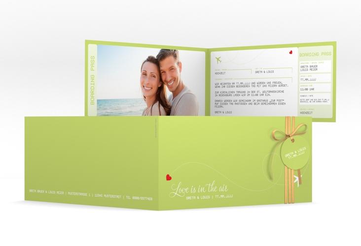 "Hochzeitseinladung ""Weddingpass"" DIN lang Klappkarte gruen"
