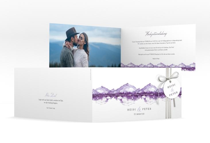 "Hochzeitseinladung ""Bergliebe"" DIN lang Klappkarte lila"