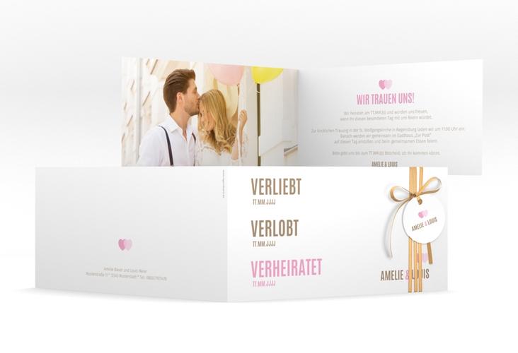 "Hochzeitseinladung ""Couple"" DIN lang Klappkarte rosa"