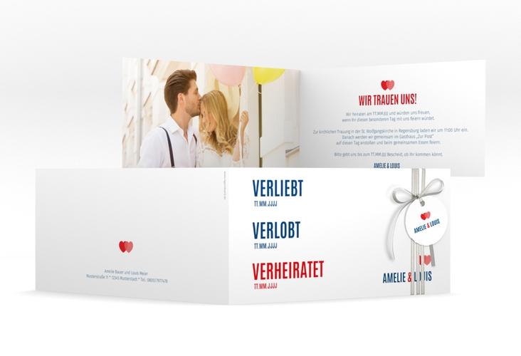 "Hochzeitseinladung ""Couple"" DIN lang Klappkarte rot"
