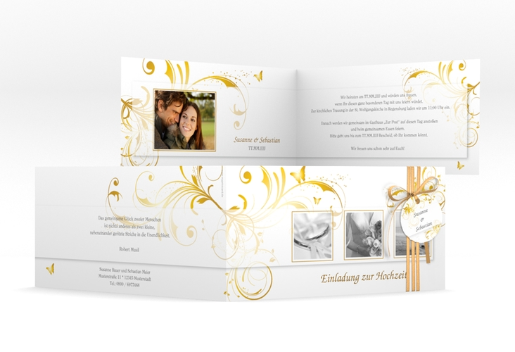 """Hochzeitseinladung """"Palma"""" DIN lang Klappkarte gold"""