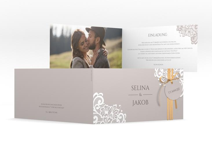 """Hochzeitseinladung """"Vintage"""" DIN lang Klappkarte grau"""