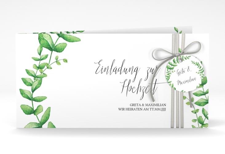"""Hochzeitseinladung """"Botanic"""" DIN lang Klappkarte weiss"""