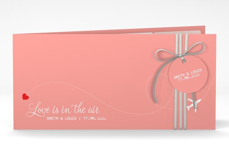 "Hochzeitseinladung ""Weddingpass"" DIN lang Klappkarte rosa"