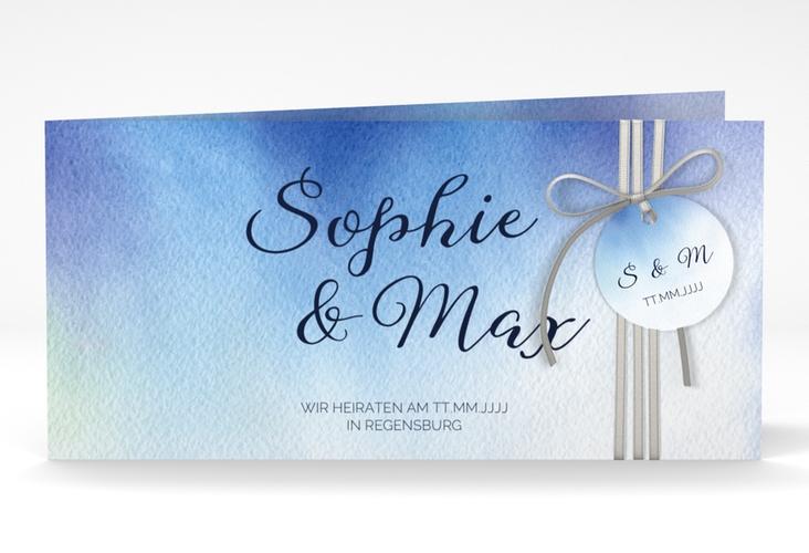 """Hochzeitseinladung """"Ombre"""" DIN lang Klappkarte blau"""