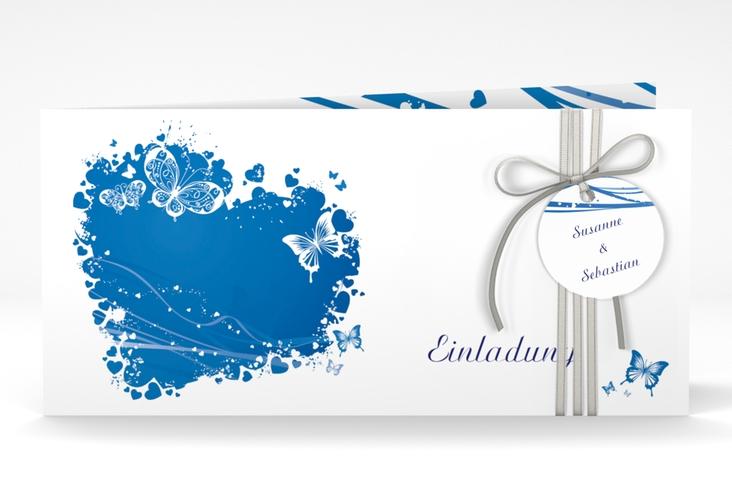 """Hochzeitseinladung """"Mailand"""" DIN lang Klappkarte blau"""