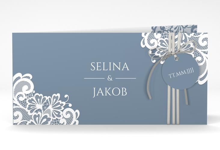 """Hochzeitseinladung """"Vintage"""" DIN lang Klappkarte blau"""