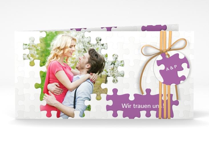 "Hochzeitseinladung ""Puzzle"" DIN lang Klappkarte lila"