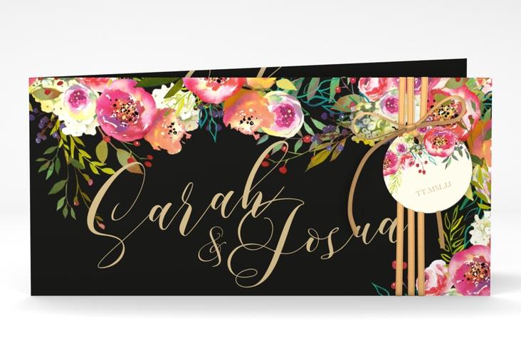 """Hochzeitseinladung """"Flowerbomb"""" DIN lang Klappkarte"""