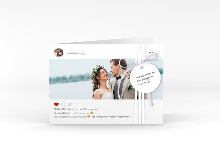 """Hochzeitseinladung """"Posting"""" A6 Klappkarte Quer"""