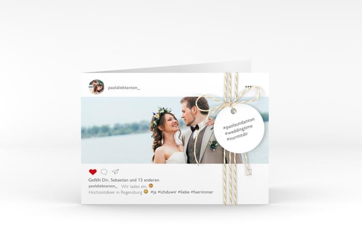 """Hochzeitseinladung """"Posting"""" A6 Klappkarte Quer weiss"""