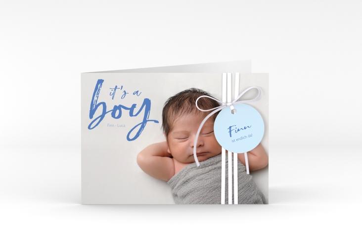 """Geburtskarte """"Boy"""" A6 Klappkarte Quer blau"""