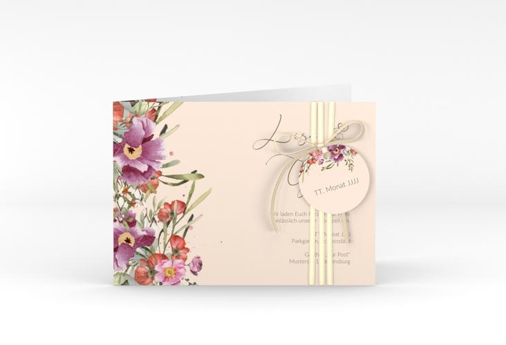 "Hochzeitseinladung ""Rosey"" A6 Klappkarte Quer rosa"