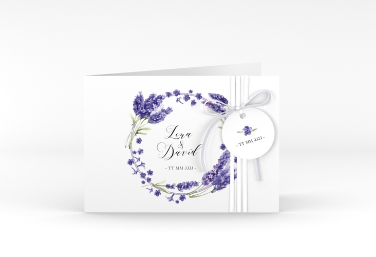 """Hochzeitseinladung """"Lavendel"""" A6 Klappkarte Quer"""