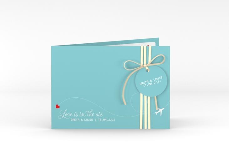 """Hochzeitseinladung """"Weddingpass"""" A6 Klappkarte Quer blau"""