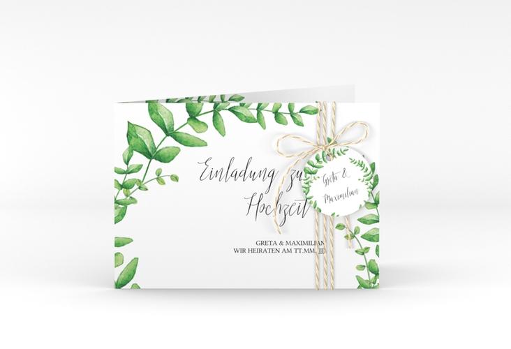 """Hochzeitseinladung """"Botanic"""" A6 Klappkarte Quer weiss"""