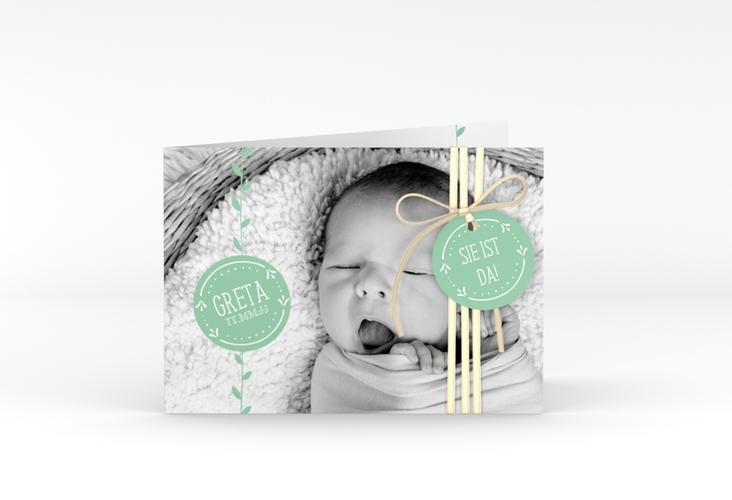 """Geburtskarte """"Unikat"""" A6 Klappkarte Quer mint"""