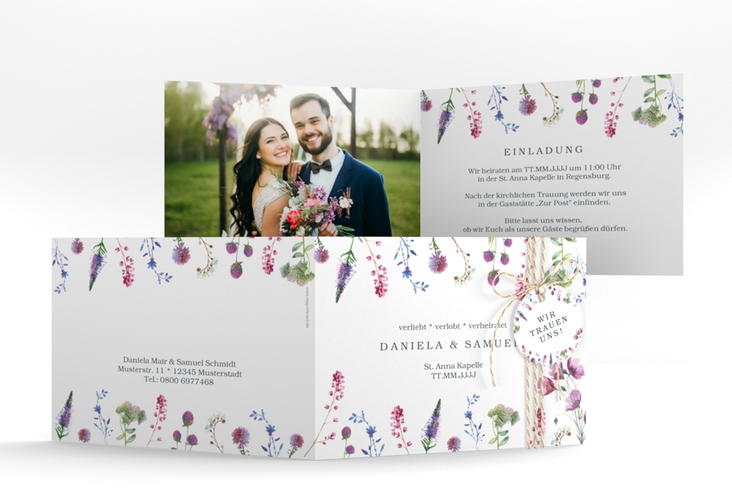 """Hochzeitseinladung """"Wildblumen"""" A6 Klappkarte Quer"""