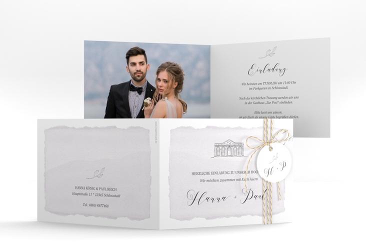 """Hochzeitseinladung """"Villa"""" A6 Klappkarte Quer"""