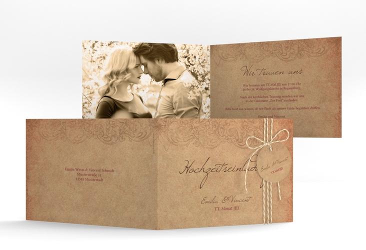 """Hochzeitseinladung """"Fairytale"""" A6 Klappkarte Quer"""