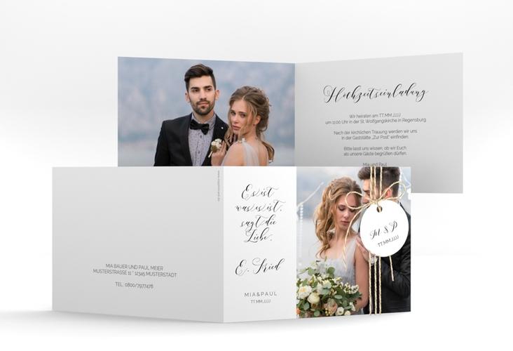 """Hochzeitseinladung """"Paperlove"""" A6 Klappkarte Quer"""
