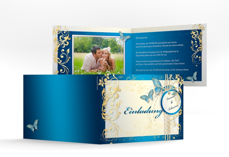 "Hochzeitseinladung ""Toulouse"" A6 Klappkarte Quer blau"
