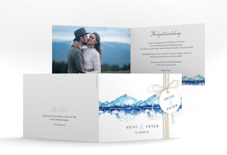 """Hochzeiteinladung """"Bergliebe"""" A6 Klappkarte Quer blau"""