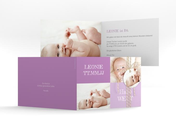 """Geburtskarte """"Freude"""" A6 Klappkarte Quer lila"""