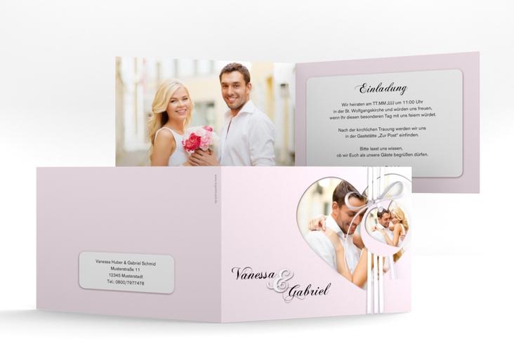 "Hochzeitseinladung ""Sweetheart"" A6 Klappkarte Quer rosa"