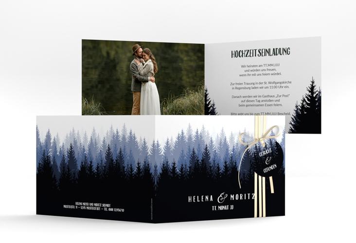"""Hochzeitseinladung """"Forest"""" A6 Klappkarte Quer"""
