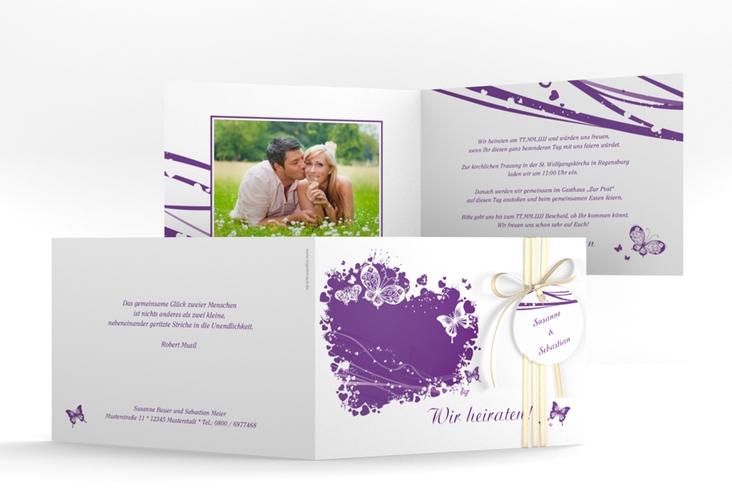 """Hochzeitseinladung """"Mailand"""" A6 Klappkarte Quer lila"""