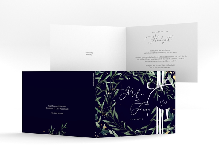 """Hochzeitseinladung """"Vivaldi"""" A6 Klappkarte Quer"""