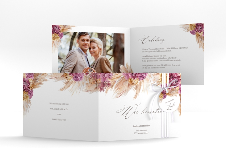 """Hochzeitseinladung """"Pampas"""" A6 Klappkarte Quer"""