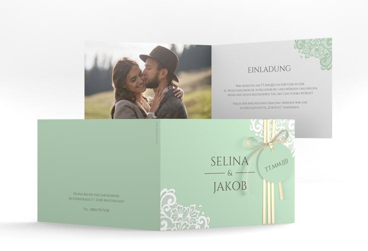 """Hochzeitseinladung """"Vintage"""" A6 Klappkarte Quer mint"""