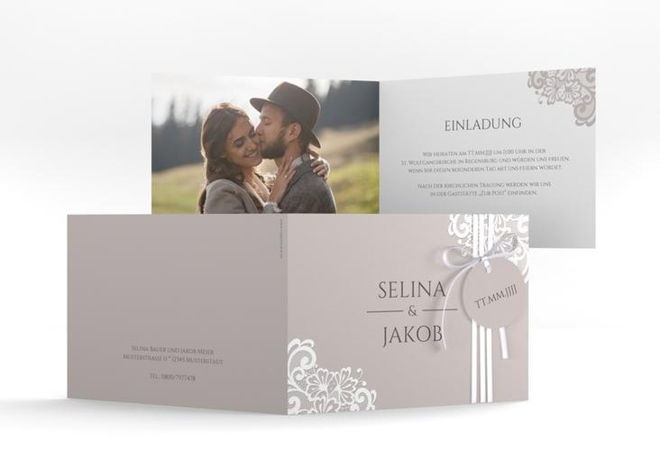 """Hochzeitseinladung """"Vintage"""" A6 Klappkarte Quer"""