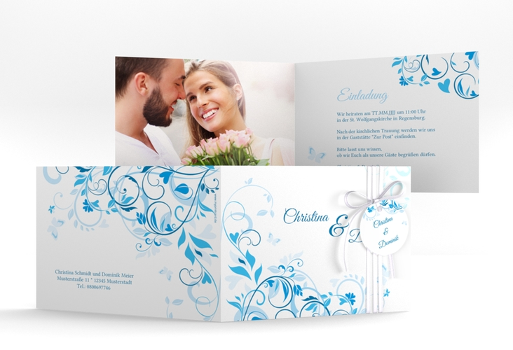 """Hochzeitseinladung """"Lilly"""" A6 Klappkarte Quer blau"""