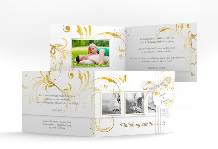 """Hochzeitseinladung """"Palma"""" A6 Klappkarte Quer gold"""
