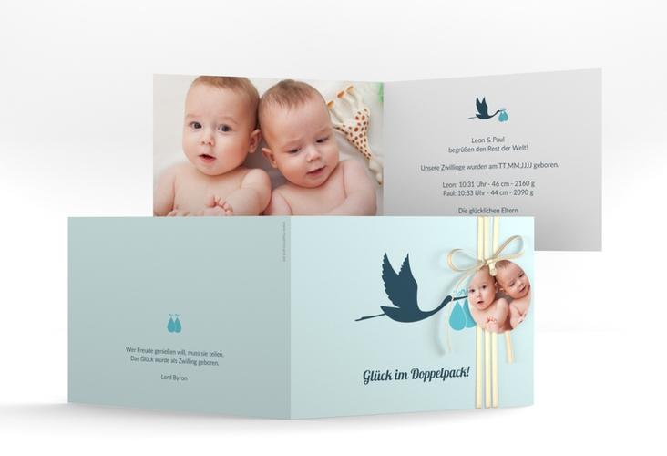 "Geburtskarte Zwillinge ""Doppelpack"" A6 Klappkarte Quer blau"