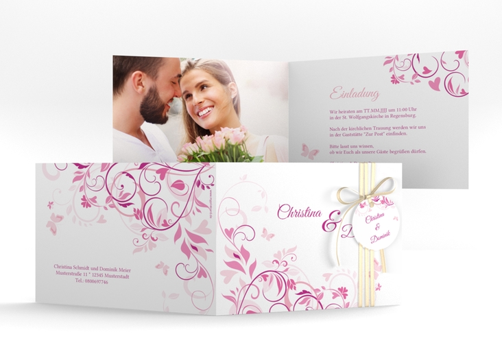 """Hochzeitseinladung """"Lilly"""" A6 Klappkarte Quer pink"""