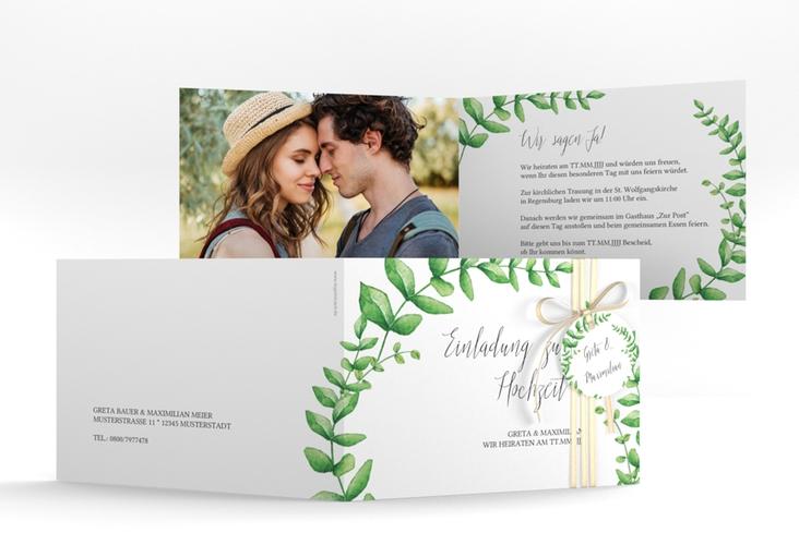 """Hochzeitseinladung """"Botanic"""" A6 Klappkarte Quer"""